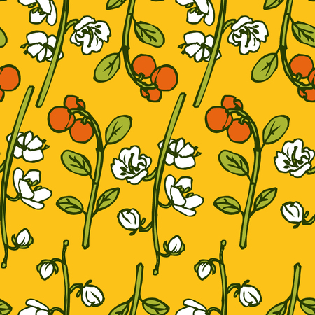 foxberry: Vector seamless pattern with of line drawing herbs and flowers, vector illustration