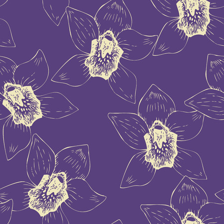 line drawing: Seamless pattern with  line drawing orchids, hand drawn vector illustration