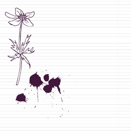 ink drawing: ink drawing  flower at lined paper, vector illustration Illustration