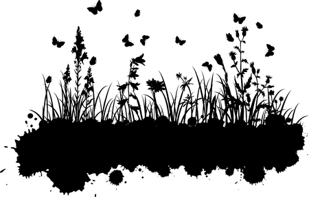 abstract grunge background with spotes and silhouettes  of flowers and grass, vector illustration Vector