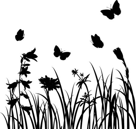 Silhouettes  of flowers and butterflies, vector illustration 矢量图像