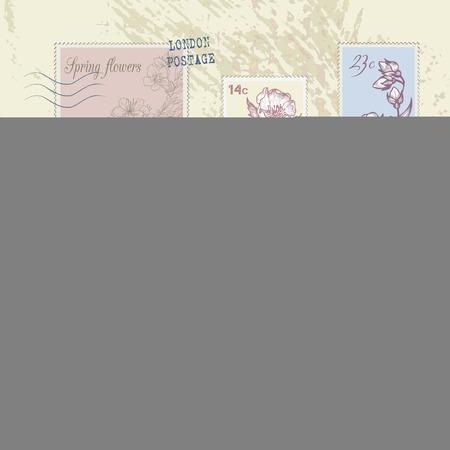 postage stamps: Set of vintage post stamps, vector design element