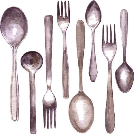 set van verschillende lepels en vorken tekening door waterverf, getrokken hand vector illustratie