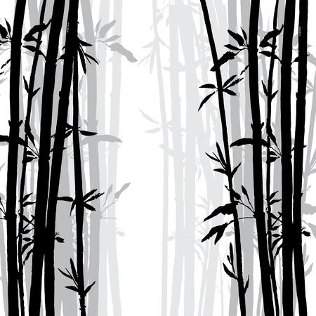 작은 숲: silhouette of bamboo grove, hand drawn vector illustration