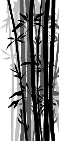 silhouette of bamboo grove, hand drawn vector illustration