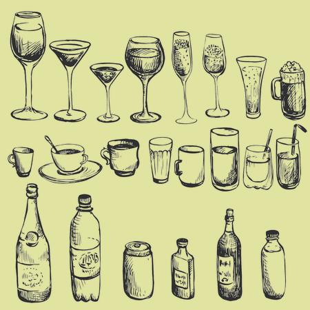 copa martini: conjunto de copa de dibujo de tinta, ilustración vectorial