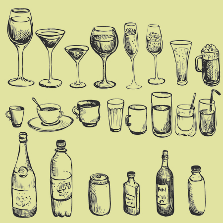 object glass: set of ink drawing wineglass, vector illustration