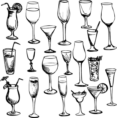 set of ink drawing wineglass, vector illustration