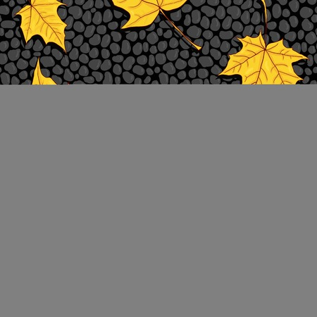 cobblestone street: vector seamless pattern  with maple seeds and leaves at black stones, asphalt road, vector illustration Illustration