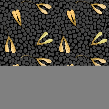 shingles: vector seamless pattern with black stones and maple seeds, asphalt road, vector illustration