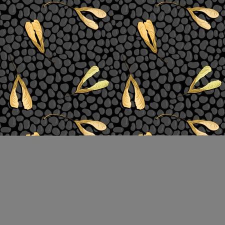 cobblestone street: vector seamless pattern with black stones and maple seeds, asphalt road, vector illustration