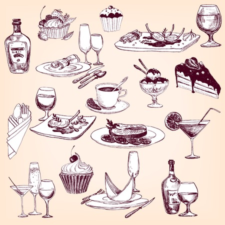 appointments: hand drawn set of tableware, , food and drinks, restaurant objects set,  vector design elements of table appointments