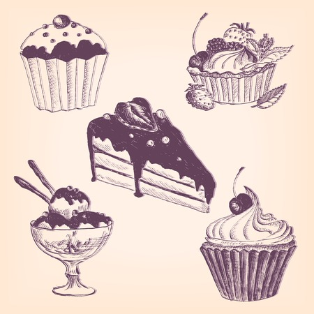 cupcakes: set of hand drawn desserts, cake and ice cream, ink drawing vector illustration