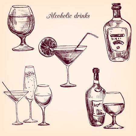 botella de whisky: set de bebidas alcohólicas, dibujo copa de tinta y botellas, dibujado a mano ilustración vectorial Vectores