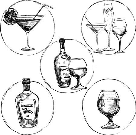botella de whisky: Conjunto de bebidas de alcohol, copa de dibujo de tinta y botellas, ilustración vectorial dibujado a mano Vectores