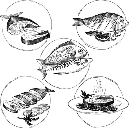 fish  food: set of hand drawn fish dishes, design elements of fish food Illustration