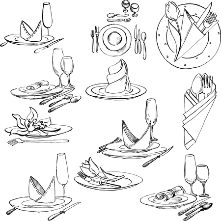 napkin: hand drawn set of tableware, vector design elements of table appointments Illustration