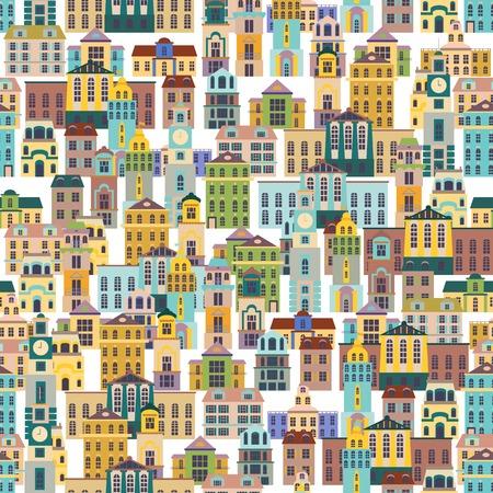 city scene: vector seamless pattern with cartoon buildings, vector illustration