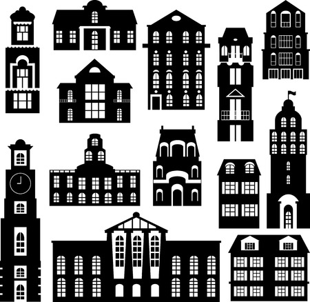 set of city objects, silhouettes of buildings, vector illustration