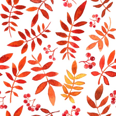 vector seamless pattern with red autumn watercolor leaves, hand drawn vector background