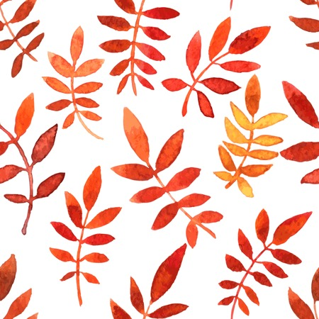 simplify: vector seamless pattern with red autumn watercolor leaves, hand drawn vector background Illustration