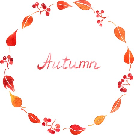 simplify: abstract watercolor vector background with red autumn leaves and berries