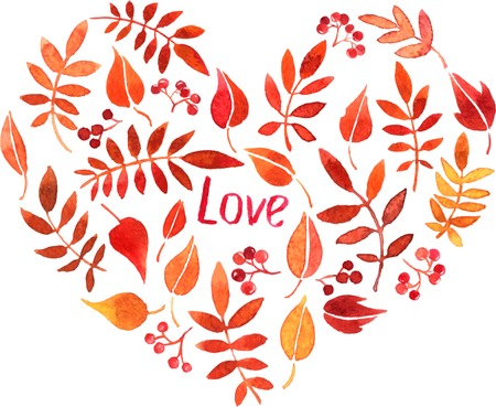 simplify: abstract watercolor vector background with heart from red autumn leaves and berries