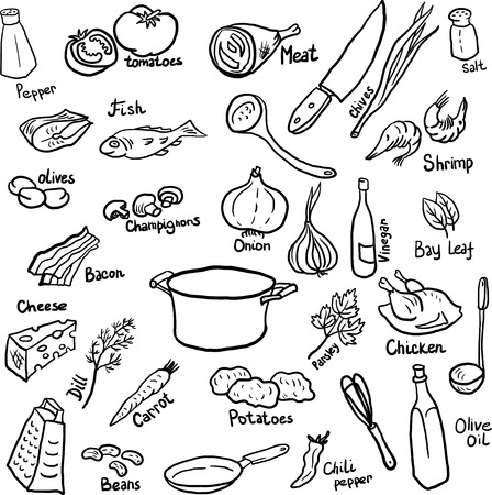 Doodle set of components and utensils for cooking dinner,hand drawn design elements Ilustração