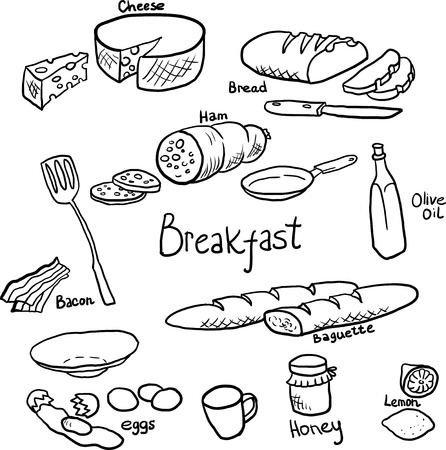 Doodle set of components and utensils for cooking breakfast,hand drawn design elements