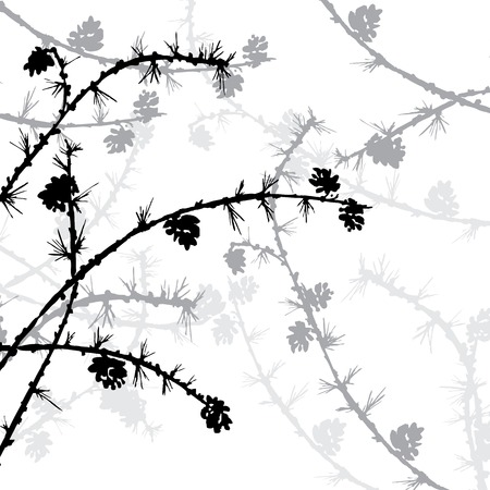 larch: branches of larch with needles and pine cones, silhouettes forest,  hand drawn vector illustration