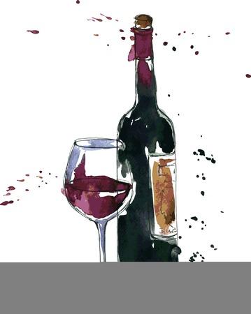 garrafa de vinho e vidro, desenho, aguarela e tinta, ilustração desenhada mão do vetor