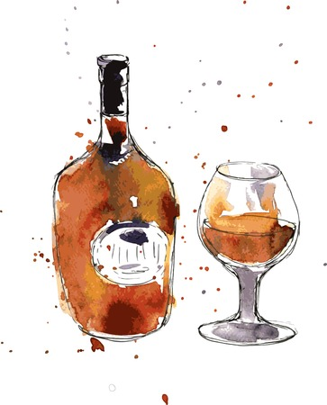 cognac bottle and cup, drawing by watercolor and ink, hand drawn vector illustration