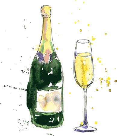 green bottle: champagne bottle and glass, drawing by watercolor and ink, hand drawn vector illustration Illustration