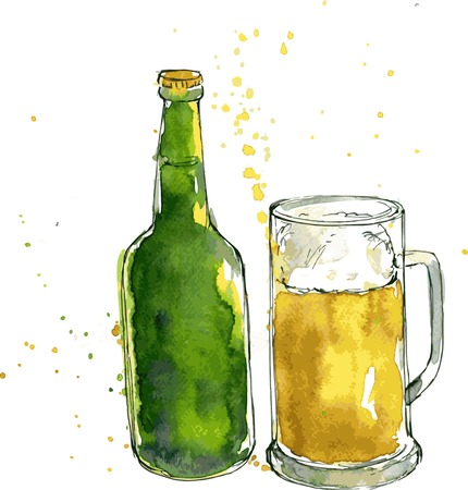 beer bottle and cup, drawing by watercolor and ink, hand drawn vector illustration Vectores