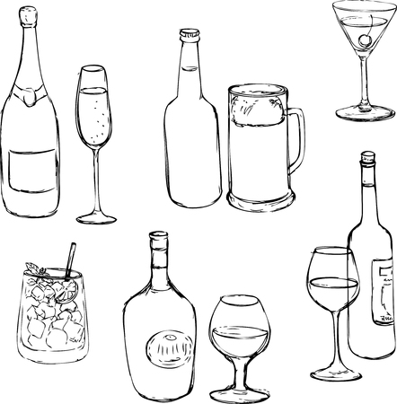 set of line drawing alcohol drinks, ink drawing glass and bottles,hand drawn vector illustration