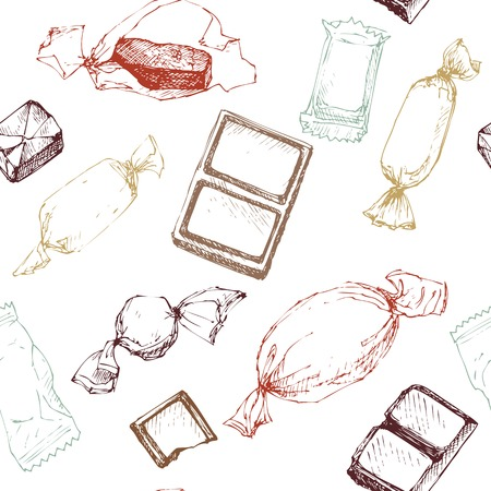 choc: vector seamless pattern with line drawing candy, sketch at white background, hand drawn vector illustration Illustration