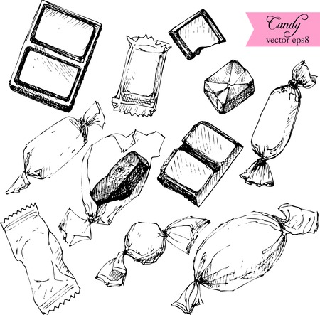 set of line drawing candy, sketch at white background, hand drawn design elements