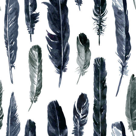 plumes: vector seamless pattern with plumes, watercolor drawing feathers, hand drawn vector illustration