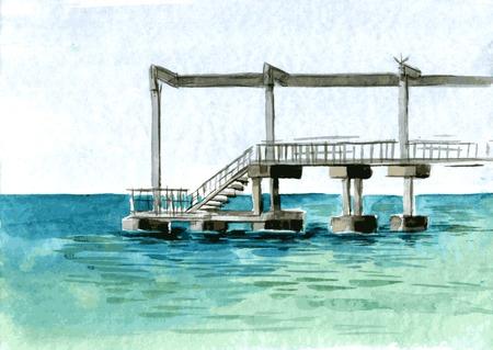 mooring: watercolor drawingpier for board at sea coast, hand drawn vector illustration