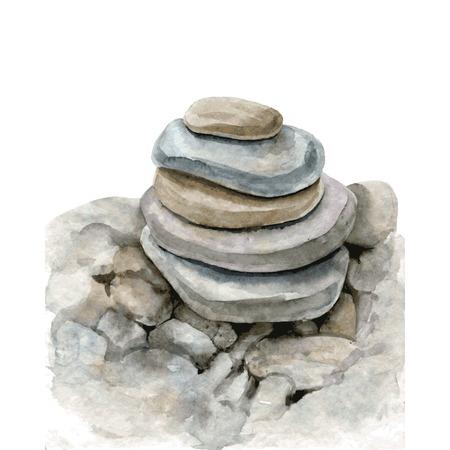 丸い石を水彩、図面、1 つの別、ケアン、手描きのベクトル図の上に横たわる海石
