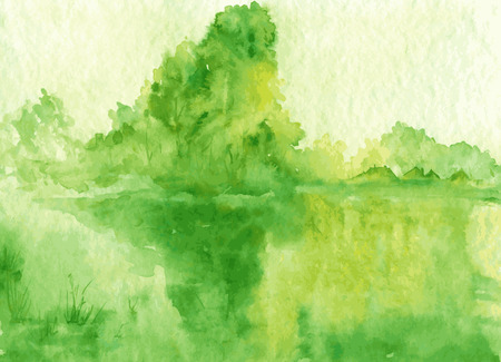 water reflection: abstract vector watercolor landscape with lake, trees,sun rays and roofs silhouettes, reflection of green trees in water at sunrise, hand drawn vector illustration, watercolor background