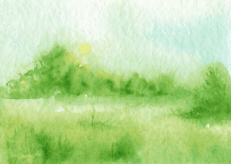 abstract vector aquarel landschap met mist en de rijzende zon, spinnenweb ochtend mist in een veld met gras en struiken, hand getrokken vector illustratie, waterverf achtergrond