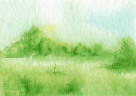 buisson: paysage abstrait vecteur d'aquarelle avec brume et soleil levant, toile d'araignée matin, le brouillard dans un champ avec de l'herbe et de buissons, dessiné à la main illustration vectorielle, fond d'aquarelle