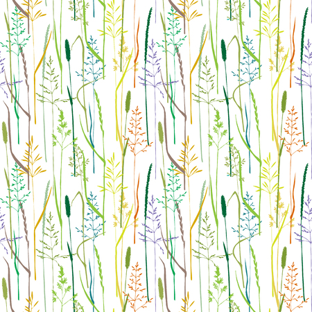 wild grass: Vector seamless pattern with color grass silhouettes, hand drawn wild cereals, vector background