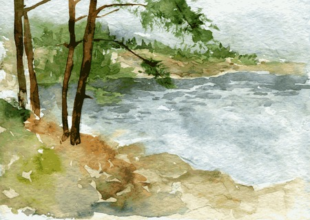 abstract vector watercolor landscape with lake shore and pine trunks at gloomy cloudy day, hand drawn vector illustration, watercolor background