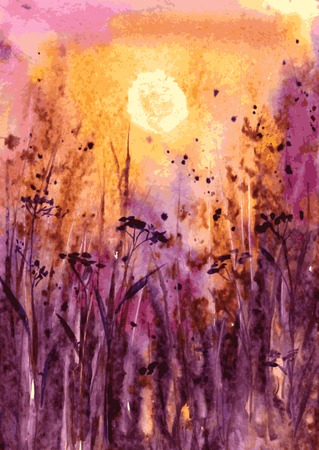 scarlet: abstract vector watercolor landscape with sunset in scarlet through the thick grass, evening sun in field, evening sun and forbs, watercolor meadow, hand drawn vector illustration, watercolor background