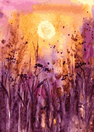 soir�e: paysage abstrait vecteur d'aquarelle avec coucher de soleil �carlate dans l'herbe �paisse, soleil du soir dans le champ, soleil du soir et de plantes herbac�es, aquarelle prairie, dessin� � la main illustration vectorielle, fond d'aquarelle