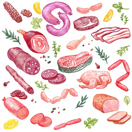 vector set of meat drawing by color pencil, doodle meat, sausages, ham and spices, hand drawn vector elements