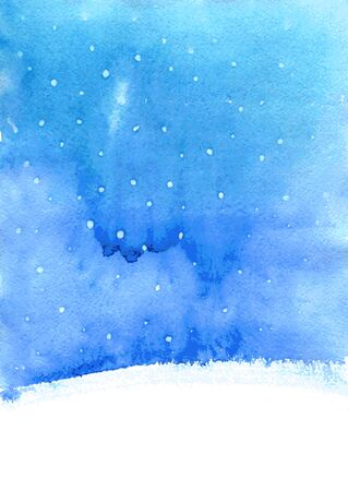 abstract vector watercolor landscape  with falling snow, winter watercolor backround fo new year or cristmas card,  blue and white backdrop, hand drawn vector illustration Illustration