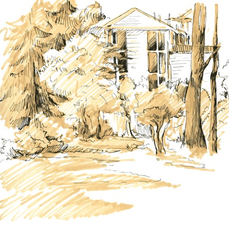 thickets: House among the thickets of trees,,  hand drawn sketch of urban landscape, vector illustration